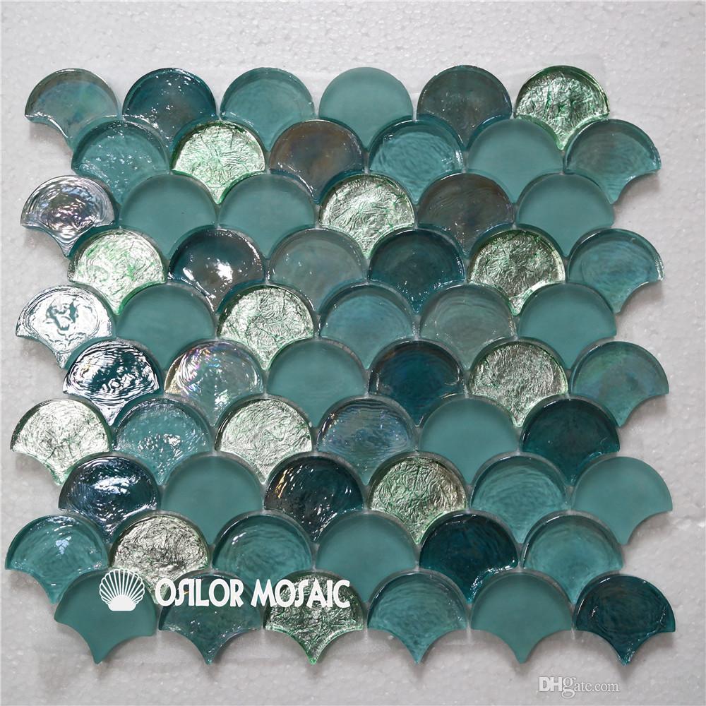 Compre abanico en forma de mosaico de vidrio azul y verde for Azulejo de la pared de la cocina verde