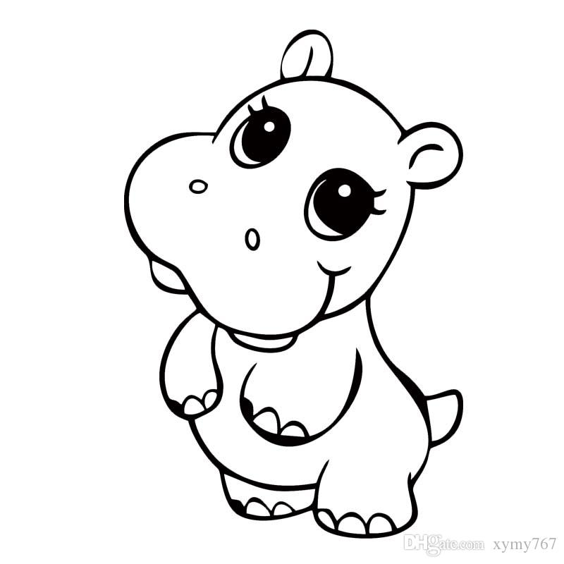New Style Cartoon Cute Hippo Graphic Vinyl Decal Car Styling Sticker Cover Scratch Decorative Accessories Stickers Animals