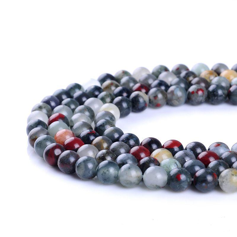 Perles de pierre de sang africaines de qualité supérieure Perles en pierre naturelle rondes 4/6/8/10/12 / 14MM pour la fabrication de bijoux Bracelet Perle lâche bricolage