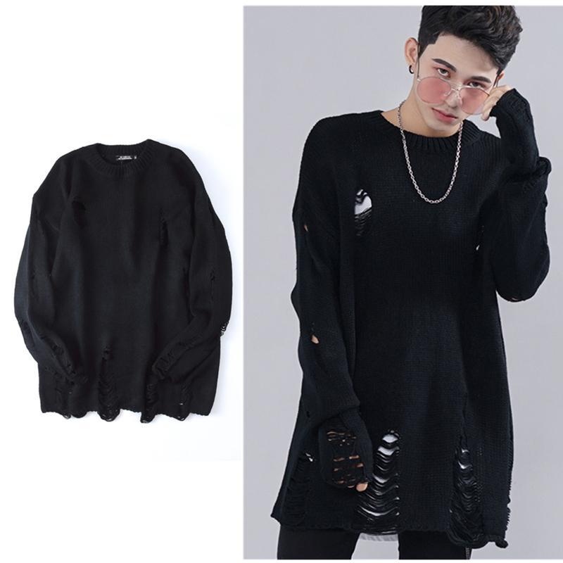 2018 Wholesale Knaye West Ripped Holes Winter Fashion Tear Sweater ...