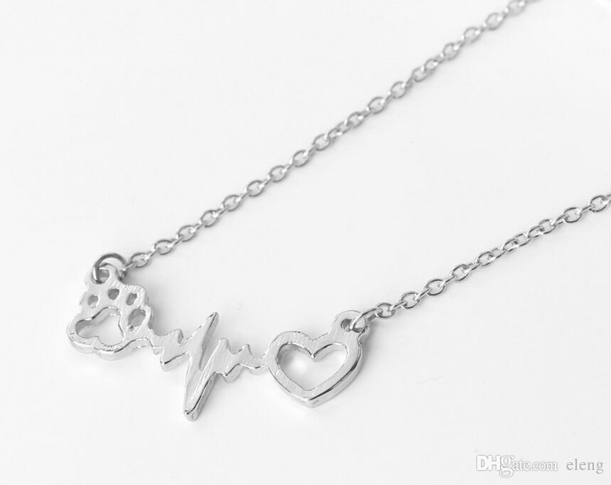 2018 Scava fuori stampe Love Paw Elettrocardiogramma ecg Collane con catena in oro rosa argento gli amanti delle donne Gioielli di moda 327