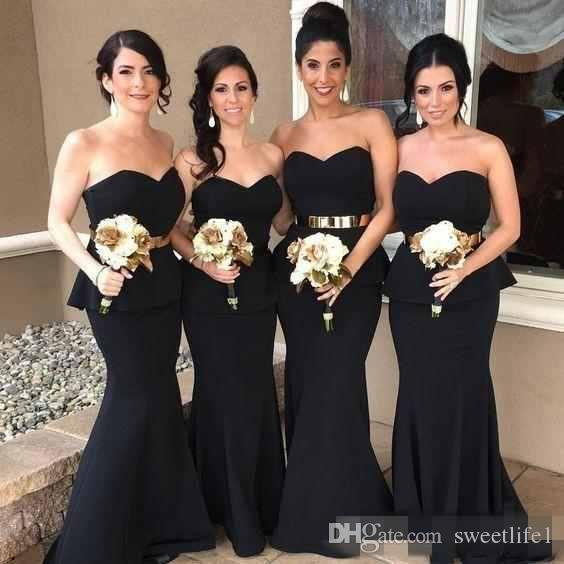 Elegant 2019 Black Sweetheart Mermaid Long Bridesmaid Dresses Gold Belt Satin Bridesmaid Dress Cheap Prom Party Gowns Arabic Style