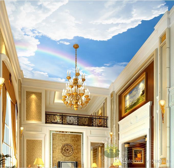Подгонянное 3D небо потолочные обои Радуга небо потолок 3D росписи стены обои для гостиной потолок