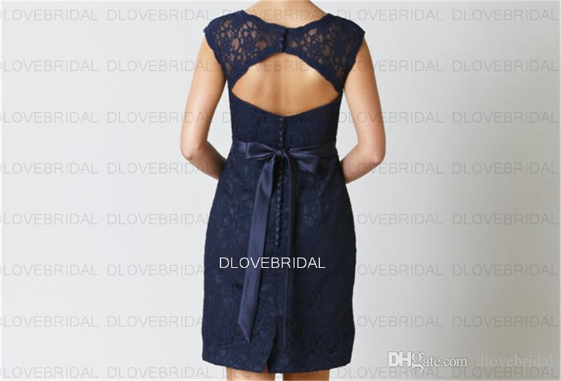 Real Photo Vintage Short Bridesmaid Dress with Detachable Belt Sash Royal Navy Blue Column Sexy Backless Wedding Guest Maid of Honor Dresses