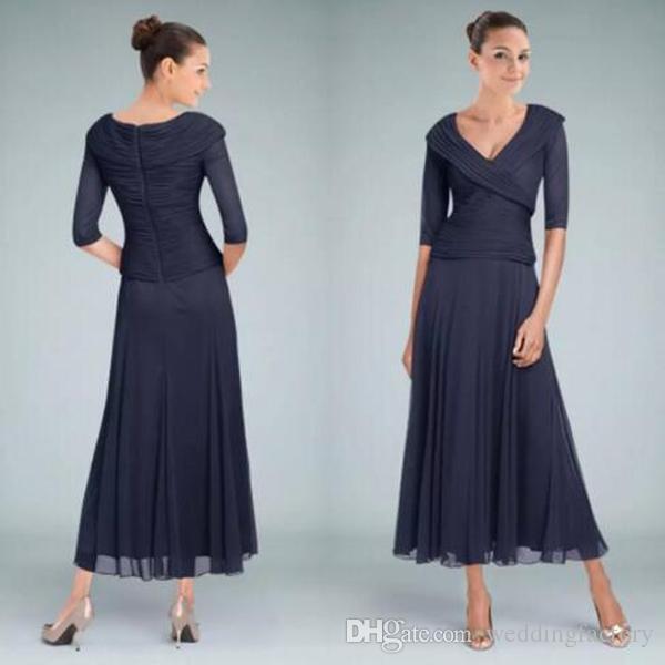 리얼 이미지 다크 네이비 커스텀 컬러 슬리브 V 넥과 신부 드레스의 차 길이 어머니는 신랑 신부 웨딩 게스트 드레스를 망 쳤어.