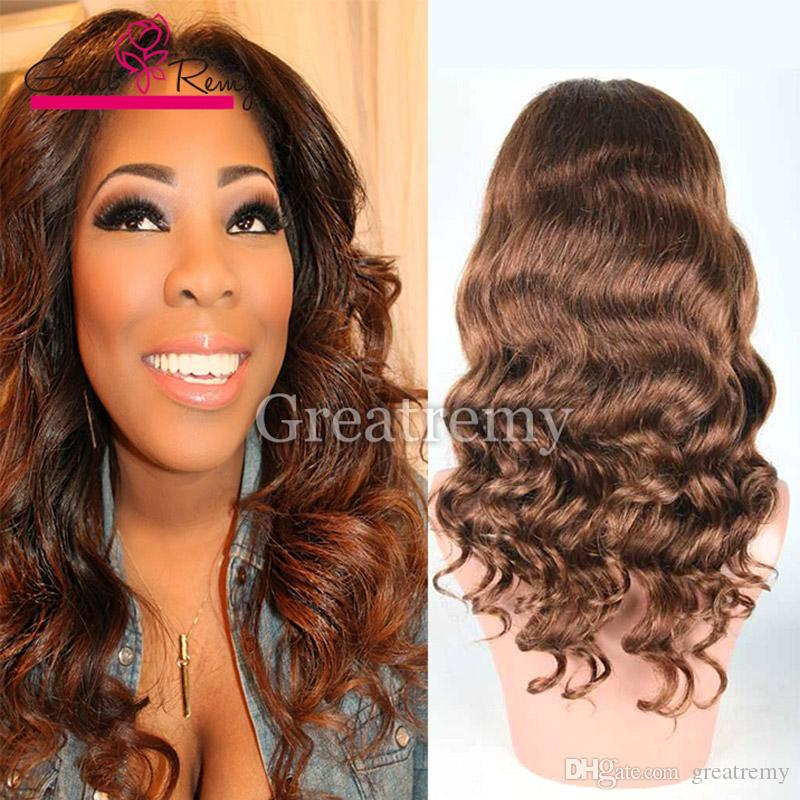 Greatremy Lace Front Wig Color 4 Body Wave 100 Virgin Brazilian