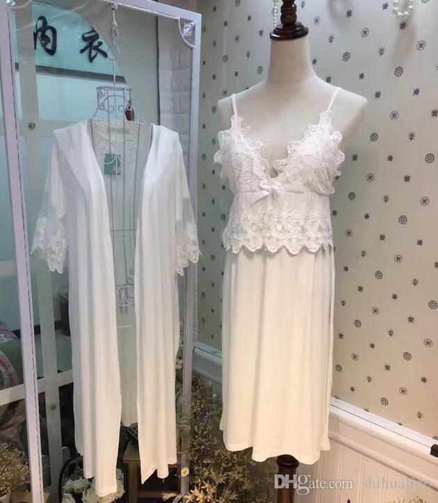 Modal dantel baskı Yeni Kore versiyonu iki set uyuyan pijamaları rahat tatlı bayan ev hizmeti