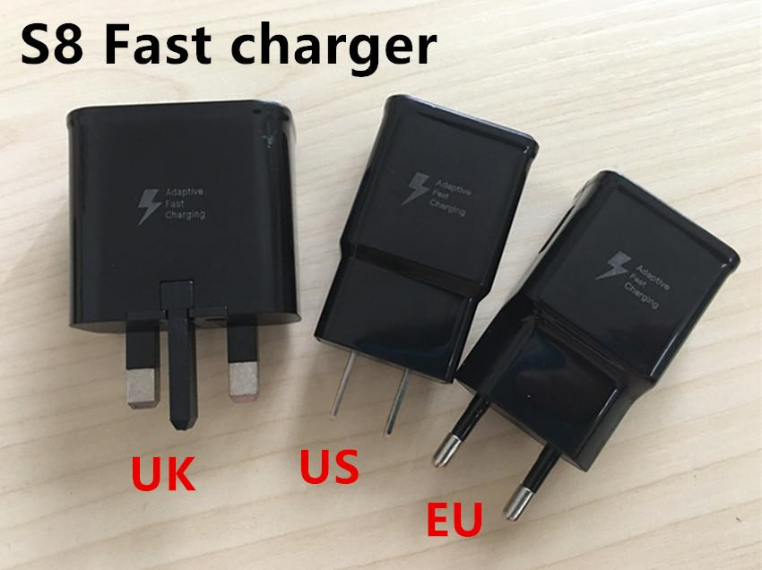 Original OEM Black US EU UK Plug Fast Charging USB Wall Charger Adapter + 1.2m USB Type C Data Charging Cable For Samsung Galaxy S8 Edge S6