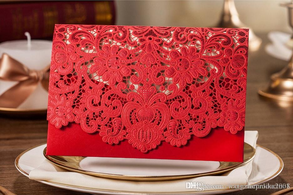 Wholesale Red And White Wedding Invitation Card Folding Korean – Folding Invitation Cards