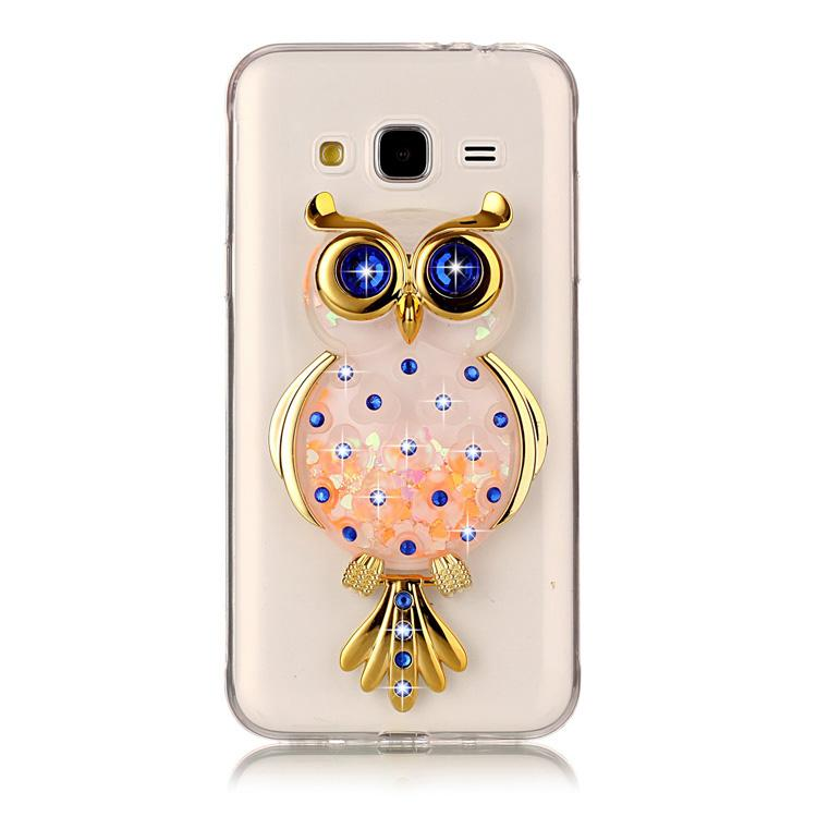 Owl case for Samsung galaxy J3 / J3 2016 J310 TPU soft shell with kickstand  holder stand quicksand flash powder sapphire crystal diamond