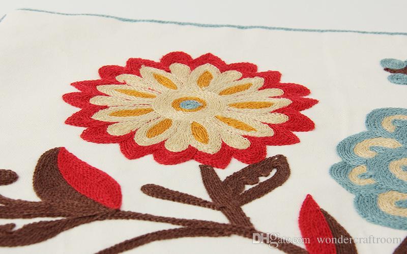 Завод Цветок Вышивка Чехлы Корейский Пастырской Цветочные Вышитые Чехлы Диван Бросить Декоративные Наволочки