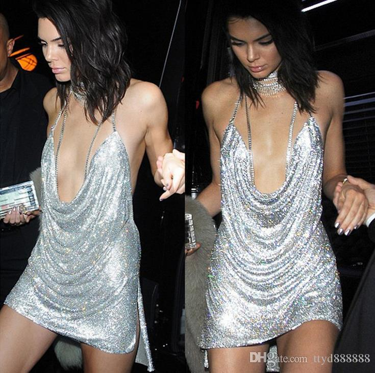 Sexy Elegant Womens Backless Rhinestone Sequin Dress Ladies Kendall Chain Choker Slip Dress Evening Party Prom Gowns.