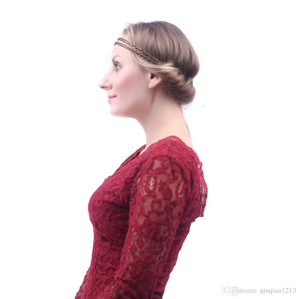 Women Double Twist Braided Hair Wig Headband Elastic Hairband Plaited Synthetic Wigs Forehead Head Band Hair Accessory Xmas Masquerade Party