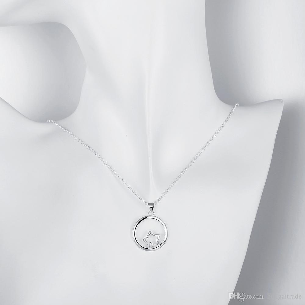 10 Adet / grup Ücretsiz kargo gümüş kaplama kadın link kolye takı LKNSPCN704