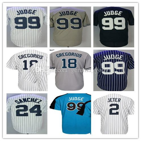 New York 99 Aaron Judge Jersey 2 Derek Jeter 24 Gary Sanchez 18 Didi  Gregorius All Rise Baseball Jerseys Shirt Gray White Navy Aaron Judge Jersey  Derek ...