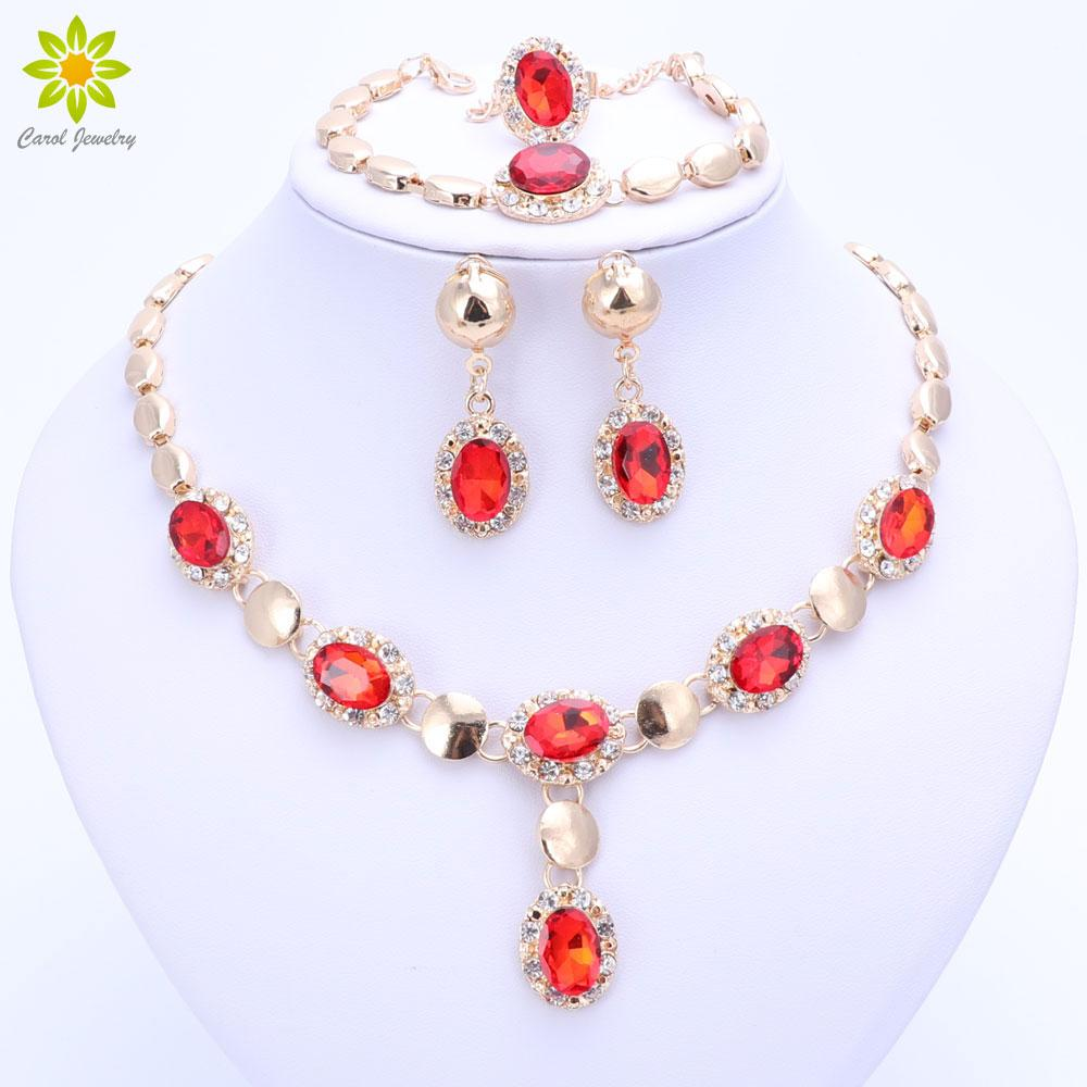 2020 Trendy African Beads Jewelry Sets For Women Crystal