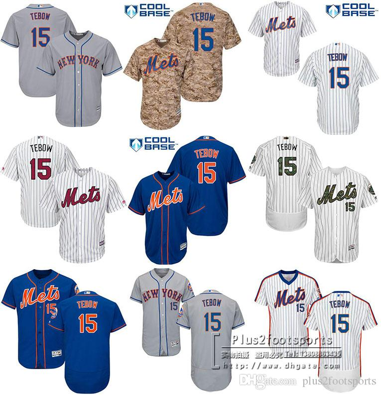fc0ccd0b3 ... 2017 MenS Youth 15 Tim Tebow Jersey New York Mets Jersey Embroidery  Logo Cool Base Authentic ...