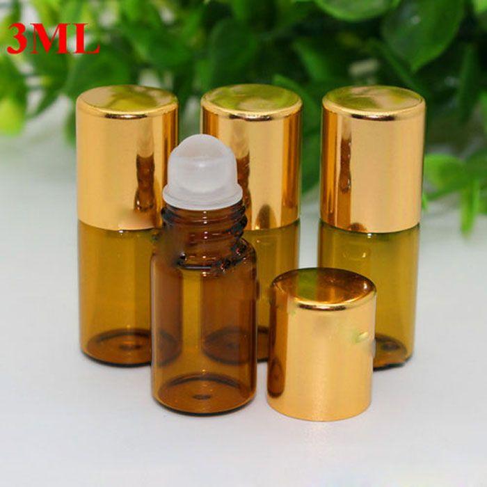 Empty Roll on Glass Bottles [STAINLESS STEEL ROLLER] Amber 3ml Refillable Roll On for Fragrance Essential Oil - Metal Chrome Roller Gold Cap
