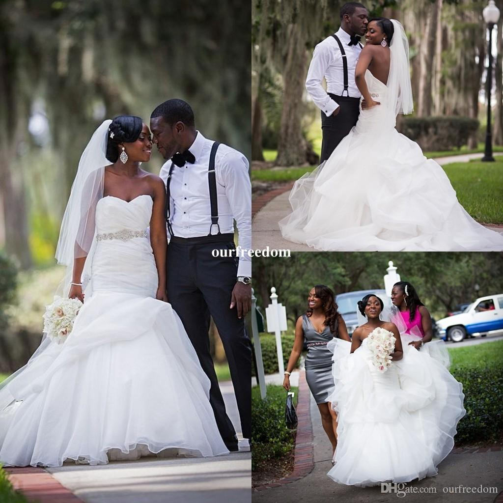 African American Wedding.Cheap 2019 Elegant African American Black Girl Wedding Dress Mermaid White Backless Long Bridal Dress Wedding Gown For Garden Wedding