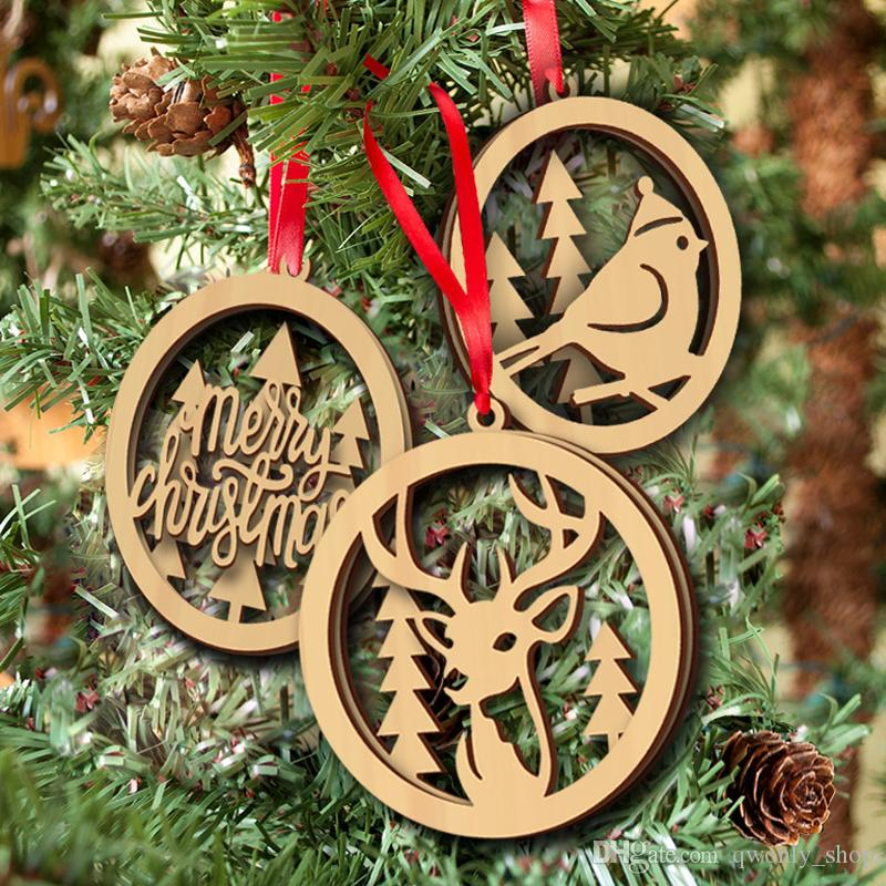 3pcs Lot Wooden Christmas Double Layer Laser Cut Hollow Hanging Pendant Wood Christmas Tree Ornaments New Year Party Decorations