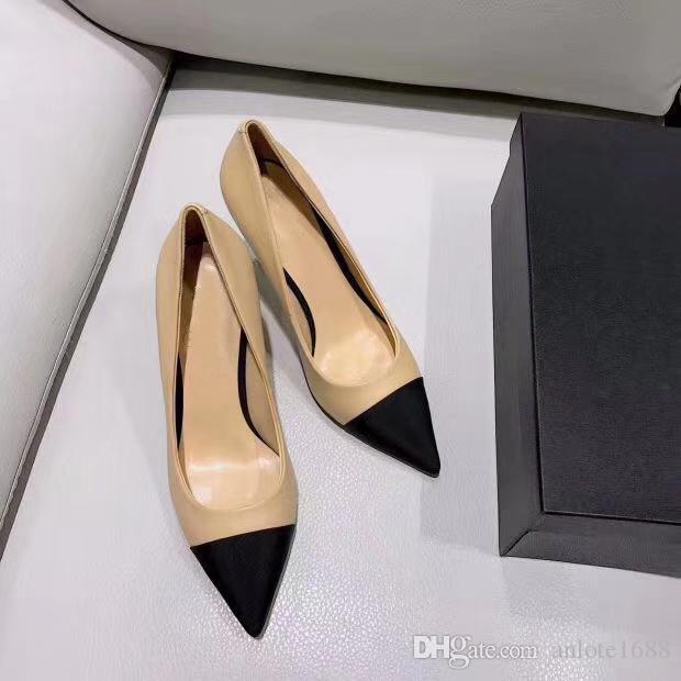 Designer femmes chèvre grosgrain pompes en cuir perle talons hauts OL chaussures habillées Lady Beige blanc noir unique chaussures boîte d'origine