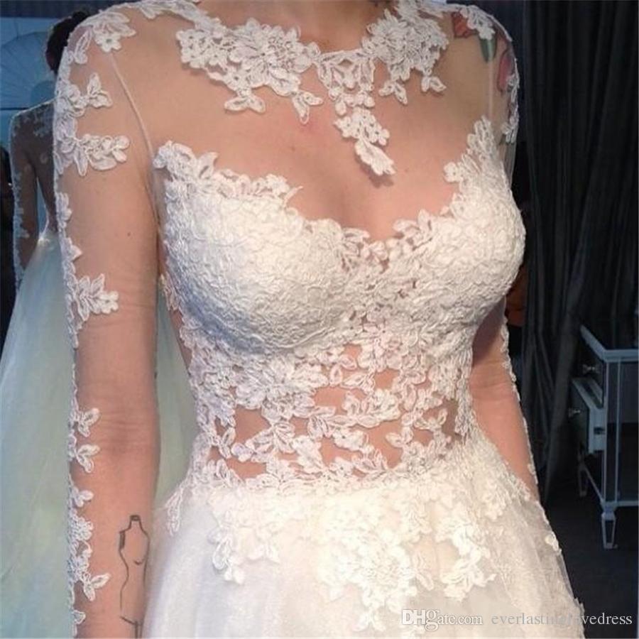 Diseño único Hi-Lo Vestidos de novia de tul Encaje Apliques Medias mangas largas Vestido de novia Jardín Playa Vestidos de novia