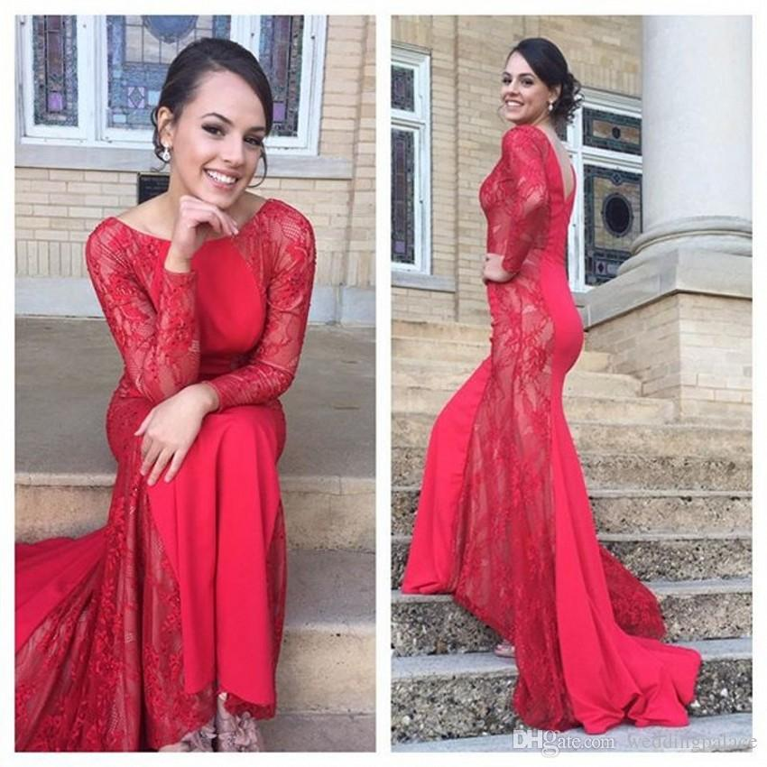 2018 Newest Scoop Red Long Evening Dresses Long Sleeve Lace Mermaid Formal Evening Gowns Prom Dresses