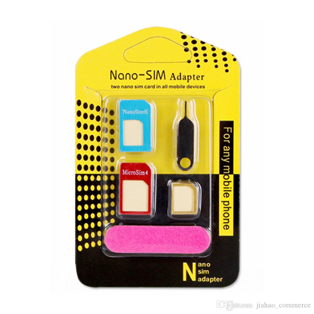 Metal Design Cell Phone 5in1 Sim Adapter Wholesale Mobile Nossy Card Accessory For Cellphone Nano Cards Micro Standard Noosy Cutter