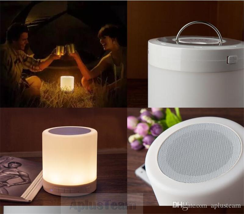 LED Dimmable Touch Sensor Romantic Lamp Portable Music Speaker Hands-free Smart Wireless Bluetooth Bedside Table Night Light Subwoofer