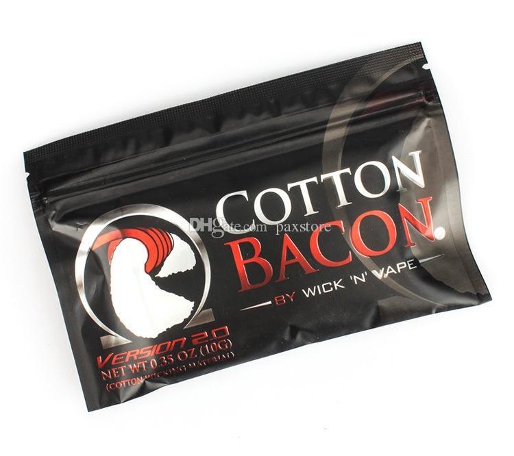 Authentic USA COTTON BACON 2.0 100% Pure RDA Bacon Cotton Fiber For DIY RDA RBA Atomizers E Cigarette Vaporizers