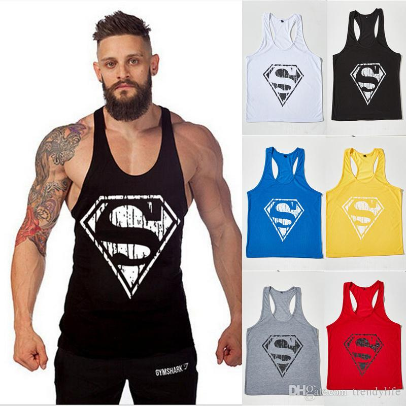 26716f2621509 Hot Superman GYM Sports Tank Tops For Men Classic Superman Bodybuilding Mens  Muscle Tanks Tops Fitness Stringer Cotton Vest Shirts Superman GYM Sports  Tank ...