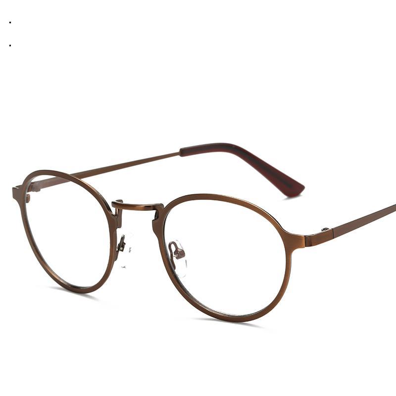 659bf679a066 2019 Wholesale Vintage Brushed Metal Eyewear Round Prescription Eyeglasses  Frames Clear Lens Optical Glasses Spectacle Frames For Men Women From  Gocan
