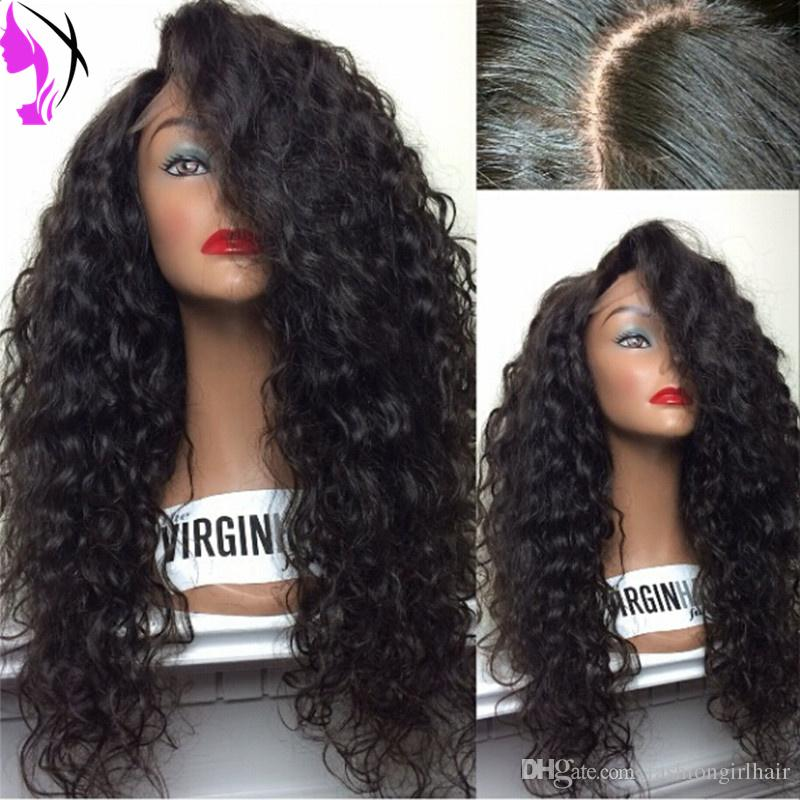 Cheap Synthetic Wigs #1b /#2 Synthetic Curly Hair Lace Front Wigs With Baby Hair For African American