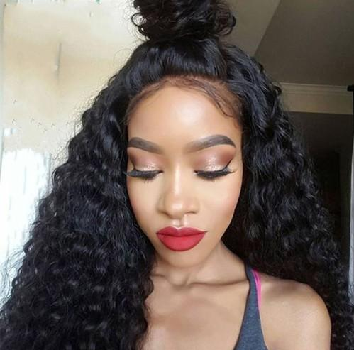 Full Lace Wig with Natural Hairline Deep Curly Indian Glueless Lace Front Wigs Human Hair U Part Wig Non Lace FDSHINE
