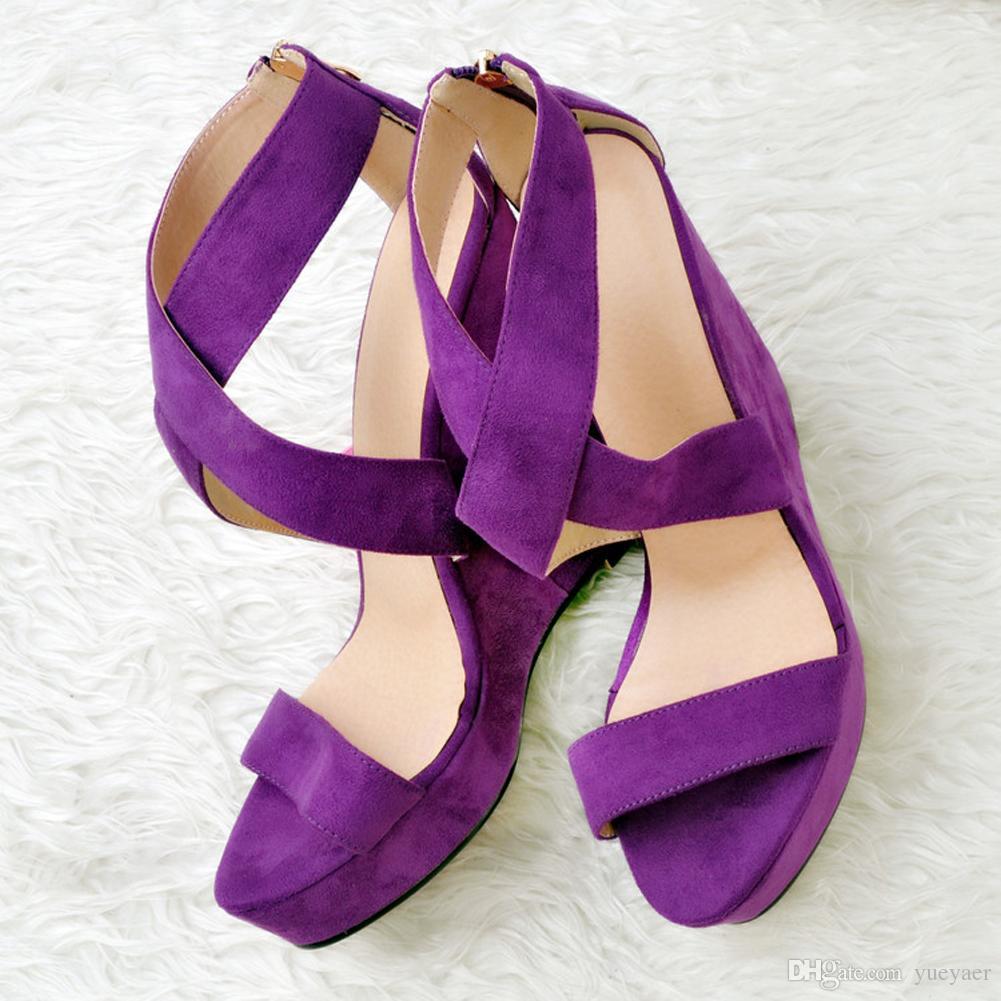 Zandina moda para mujer hecha a mano 13 cm estilo Open-toe Cross High Wadge Heel Party sandalias zapatos púrpura XD060