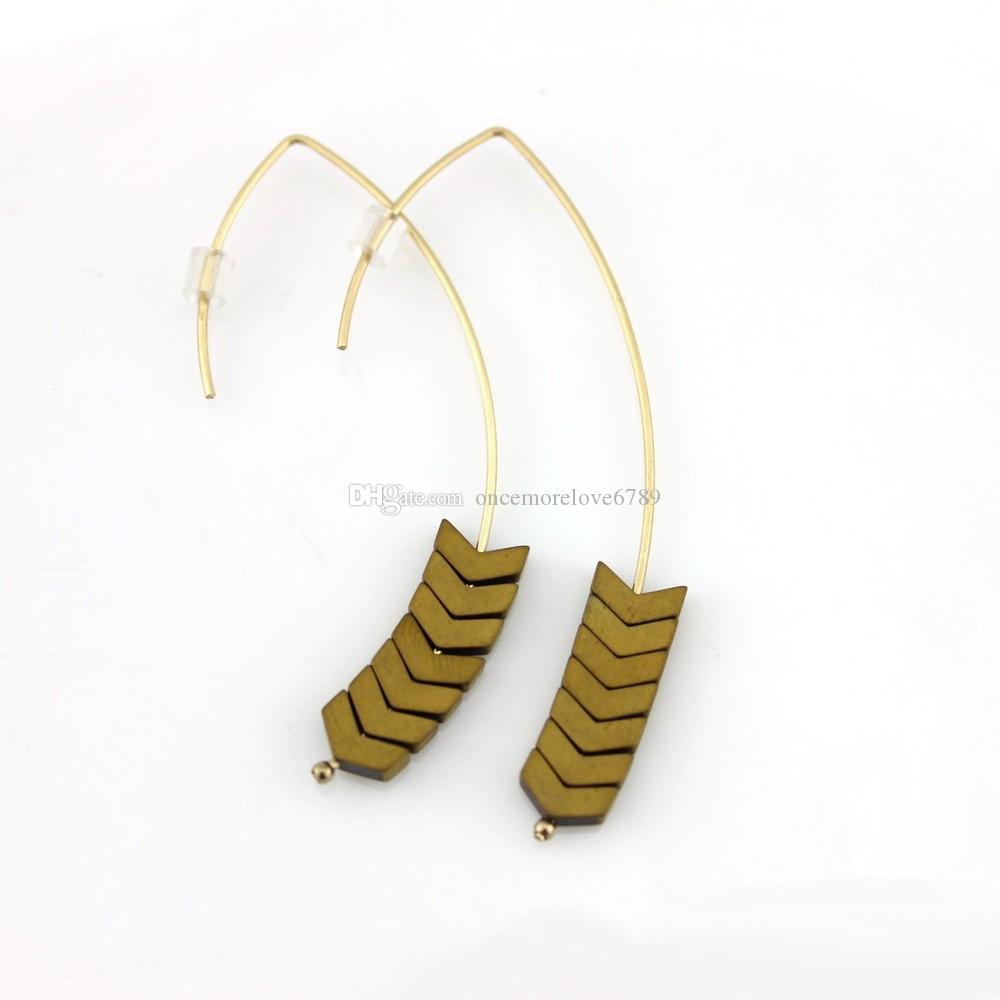 Trendy Pfeilspitze Chevron Hämatit Stein Haken Charms Ohrringe für Frauen Mode Ohrringe Schmuck Geometrische Schmuck Großhandel