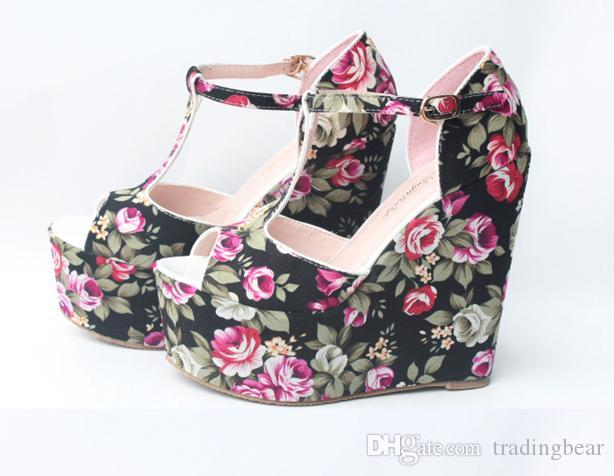 Tacchi all'ingrosso Zeppe Estate fiore romantico floreale T-Strappy alta Wedge Sandal i