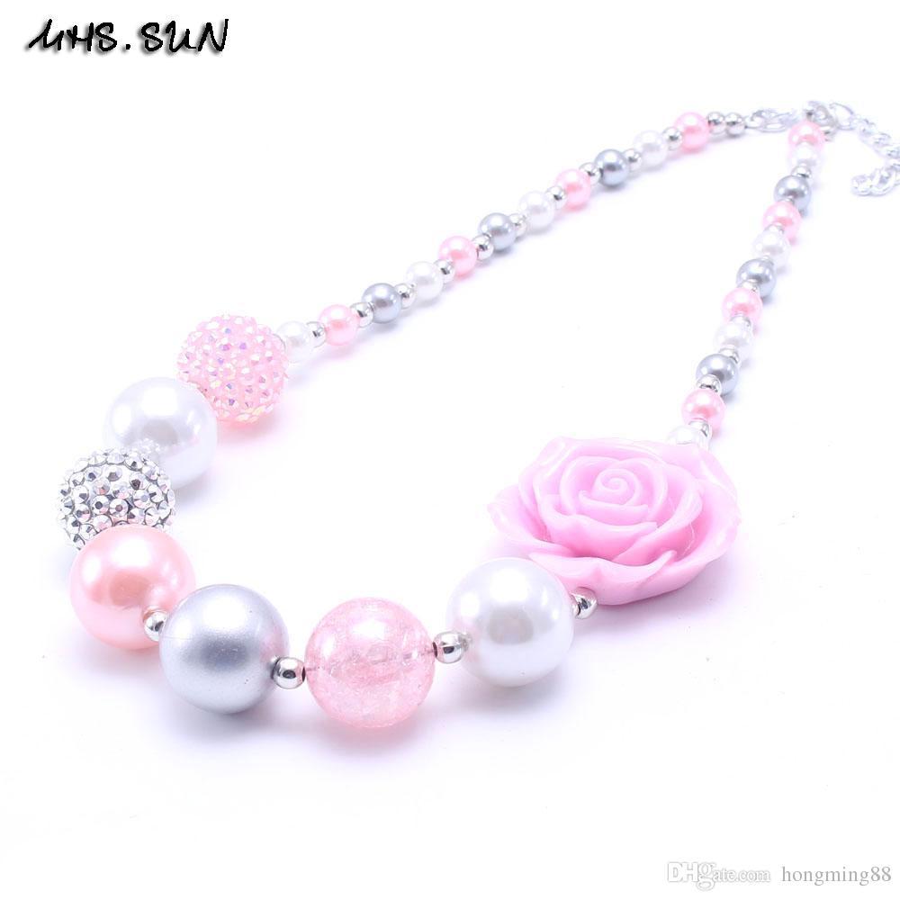 Mhsn Newest Design Greypink Color Flower Kid Chunky Necklace