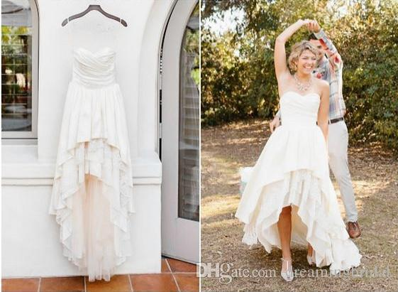 Simple High Low Wedding Dresses Tiered Skirts Floor Length Sweetheart Dresses For Wedding Gowns Cheap Plus Size Bridal Dresses