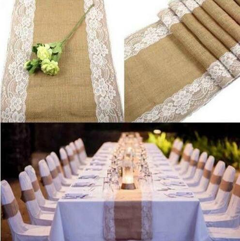 Grosshandel Jute Tischlaufer Hochzeit Tischdekoration Vintage