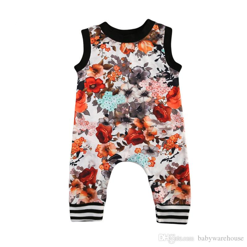 64639fdb82d6 2019 Baby Girls Clothes Newborn Infant Flower Oil Ink Sleeveless Romper  Jumpsuit Sunsuit Kids Clothes Summer Girl Floral Romper Infant Clothing  From ...