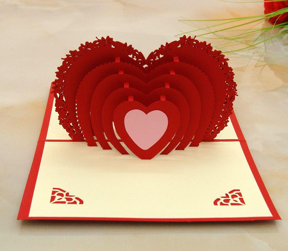 3d Folding Heart Wedding Card Engagement Invitation ...