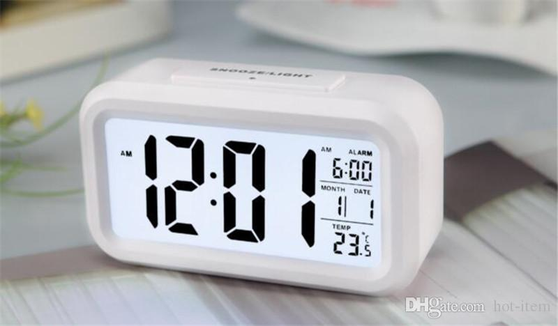 2018 modern large display digital alarm clock led with calendar electronic desk table clocks. Black Bedroom Furniture Sets. Home Design Ideas