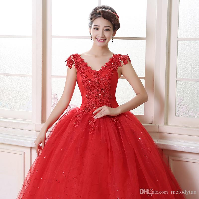 Wedding Dresses New Arrival White Red Gowns Lace Up Bride