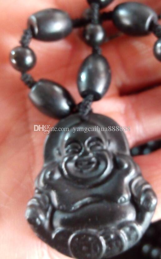 Natural light black jade Buddha pendant jadeite grade A couple jade manufacturers selling men and women A