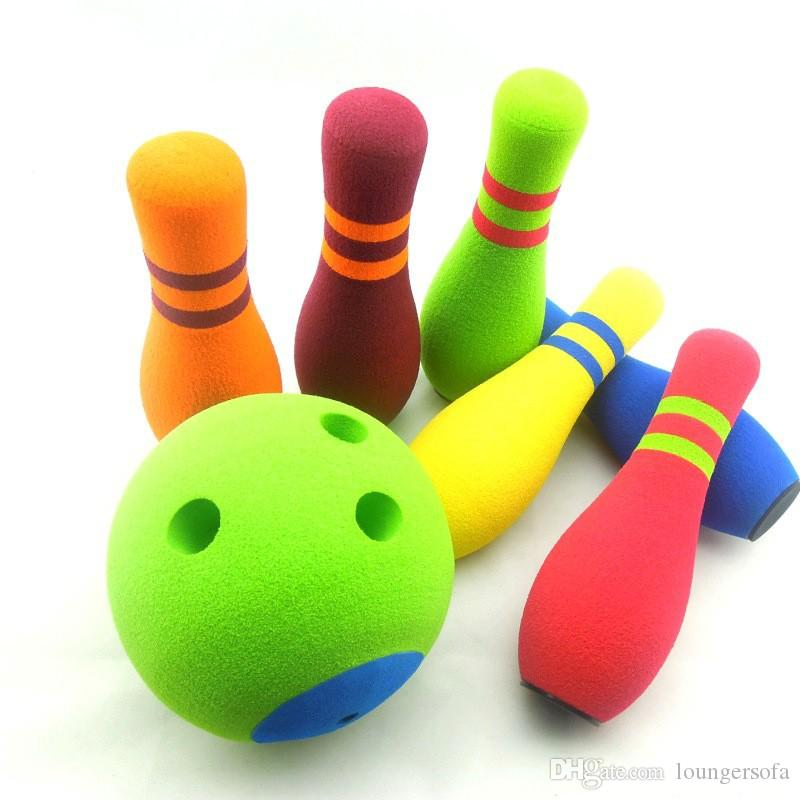 Bowling Set Eco Friendly Rubber Balls Indoor And Outdoor Parent Child Toys Bowlings Kit Kindergarten Training Soft Safe Anti Noise 63ys F