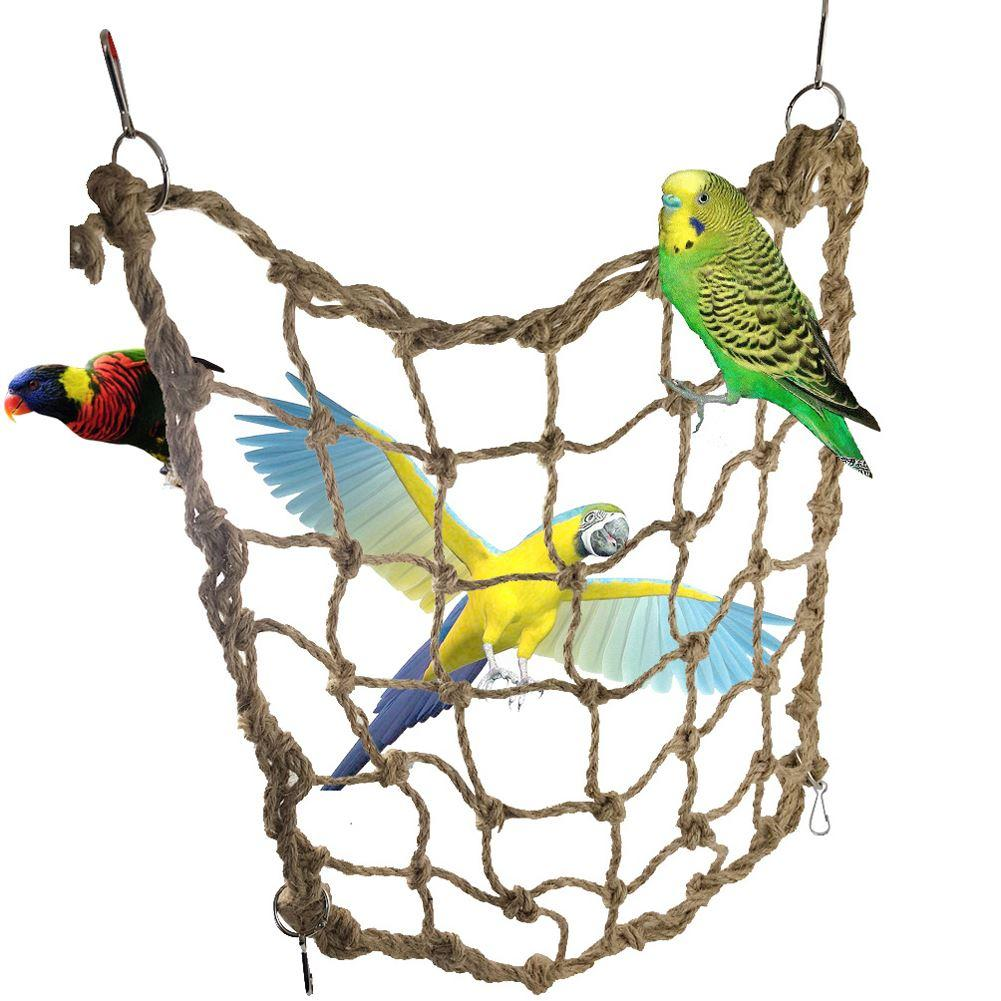 Toys For Birds : Parrot bird cage toy game hanging rope climbing net