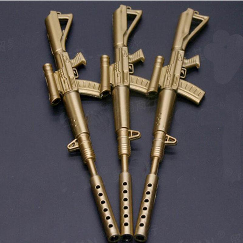 لطيف مضحك kawaii أقلام caneta رولربال القلم اللوازم المدرسية الكتابة papelaria الإبداعية m41 الذهب بندقية شكل جل القلم القرطاسية