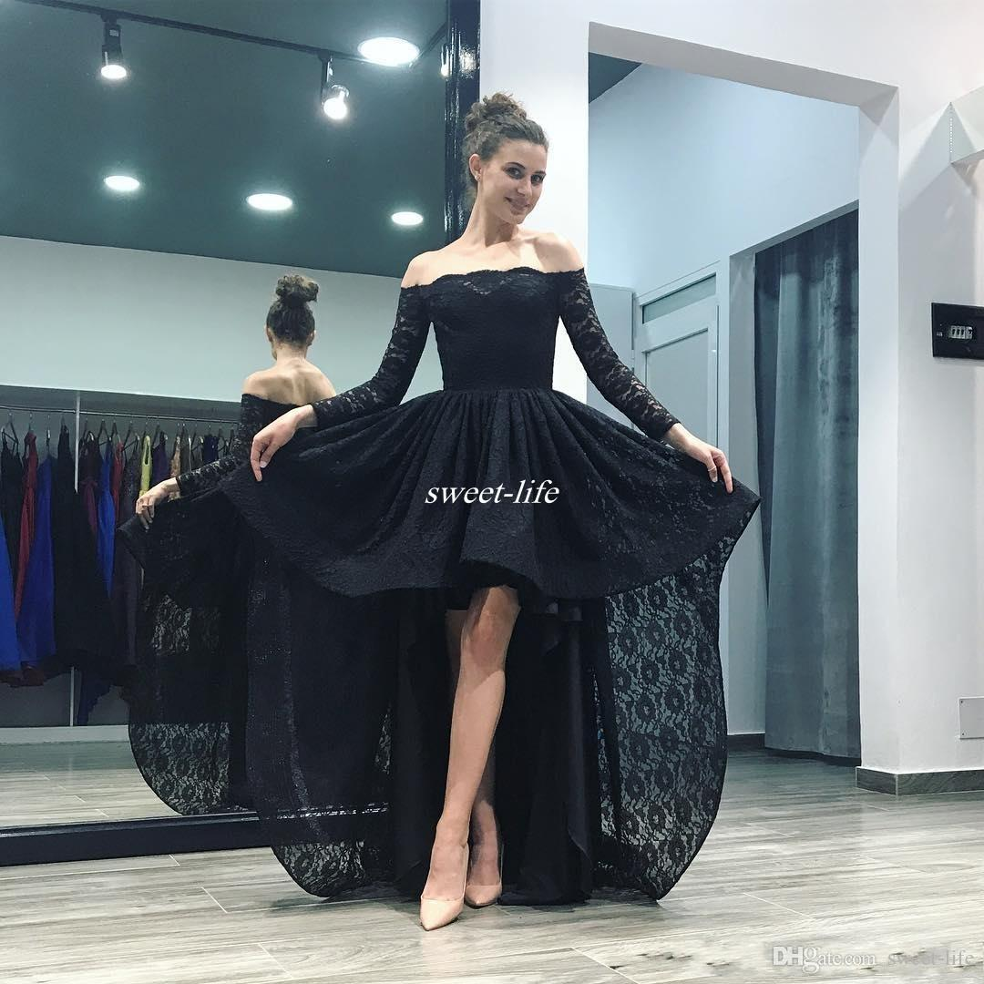 Boat Neck Lace Homecoming Dresses Black Long Sleeve High Low Prom Dresses Elegant Back to School Homecoming Party Formal Gowns 2017