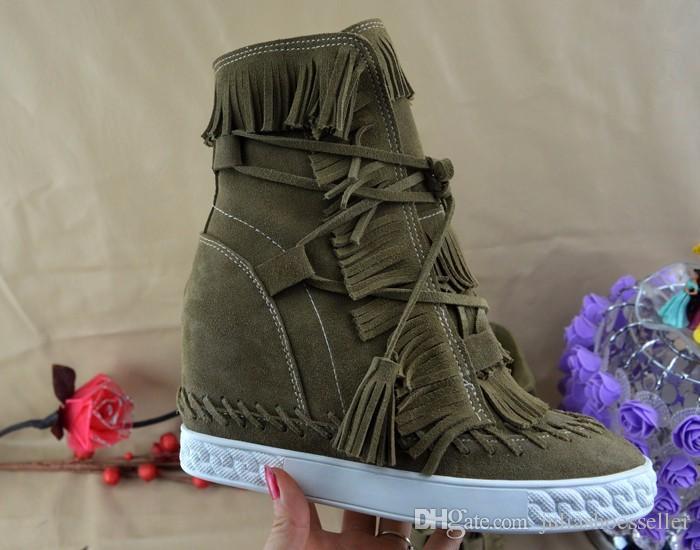 Vendita calda di vendita caldo frange stivali zeppa stivali altezza crescente lace up caviglia stivaletti nappe stivali donne di alta qualità